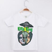 2019 New Kids T Shirt For Boys Children Clothing Cotton Short Sleeve Child Funny T-Shirt Alien Printing Basic White Tee Shirts