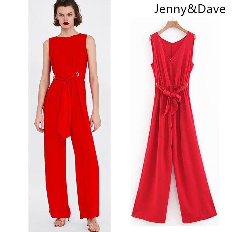 Jenny&Dave jumpsuits women sashes bow solid red sleeveless full length pants jumpsuit women kimono feminino tops plus size 2018