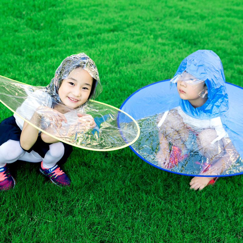 ZZIXQ Baby 2018 Hot Circular Portable Folding Rain Coat Umbrella Hat Hands Children Outdoor Protective Artifact Form Rainy