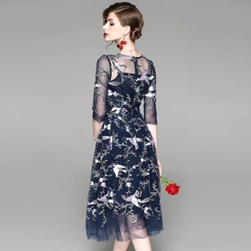 Trimestre ligne Manches cou Robes De Nouveau A Maille gray Xjj270 Mode Sections Blue Trois O Femme Tempérament Robe Broder 2018 Été Longues OSn0vwqPw