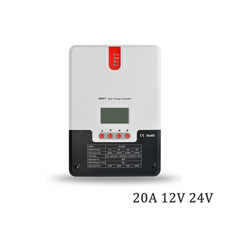 Régulateur de contrôleur de chargeur solaire 20A MPPT 12 V/24 V LCD affichage seale AGM GEL fer li-ion batterie au lithium