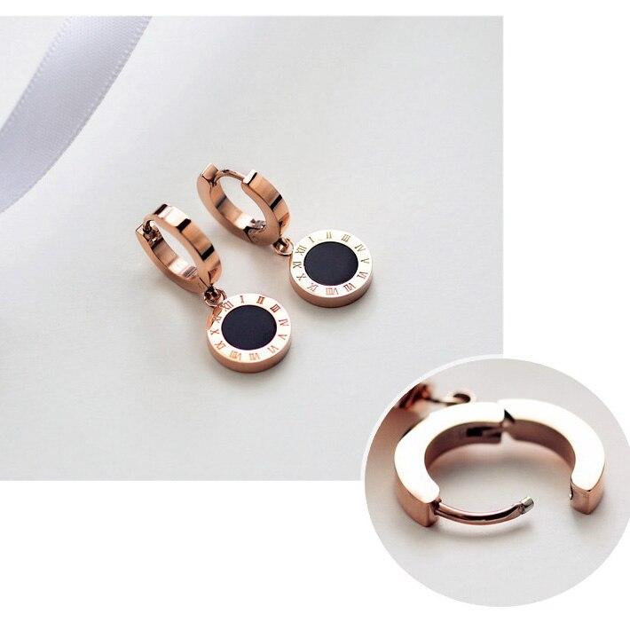 Titanium Steel rose gold color Classic Clip Roman Numerals Women Wedding Stud Earrings /Fashion Unisex Cheap Stud Earrings