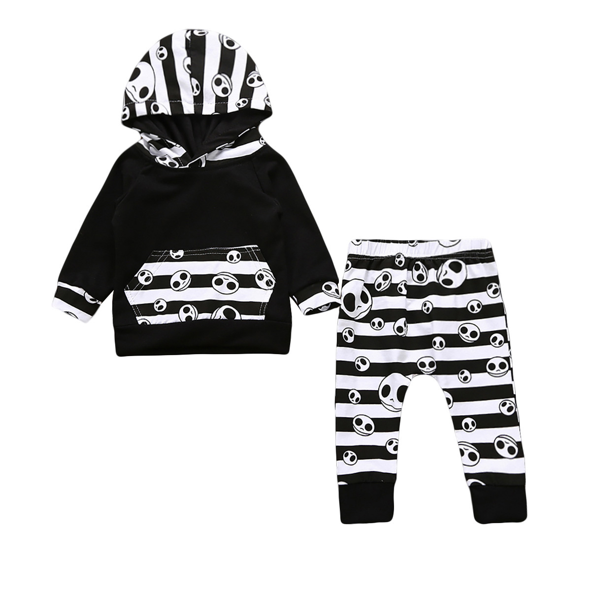Halloween Toddler Baby Boys Girl Tops Hooded Pants Home Outfits 2PCS Set Clothes