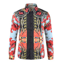 2018 New Summer Mens Long Sleeve Beach 3D Shirts Cotton Casual Floral Regular Plus Size 3XL clothing Fashion 213