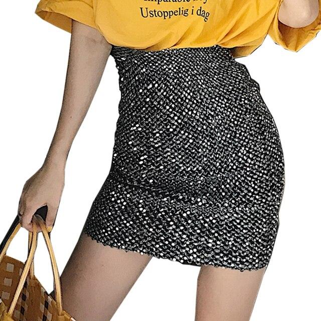 prix d'usine 67634 22bd3 Meilleur 2019 nouveau femmes jupes noir Sequin Mini jupe ...
