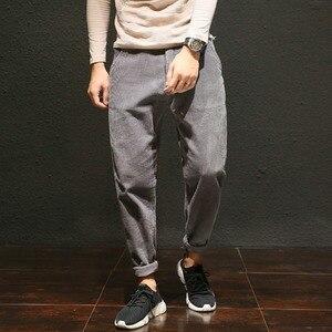 Image 2 - Pantalones de pana informales de talla grande para hombre, pantalones bombachos holgados de algodón, bolsillos laterales grandes, pantalón de Hip Hop