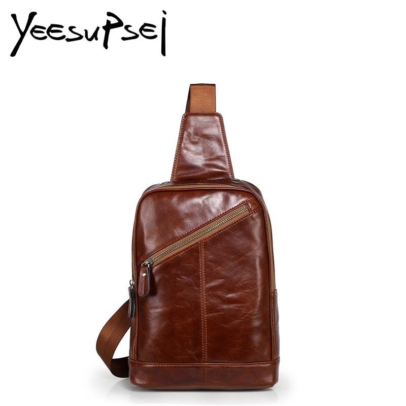 YeeSupSei Famous Brand Bag Men Chest Pack Sling Single Shoulder Strap Pack Bag Leather Travel Bag Men Handbag Rucksack Chest Bag slim fit design mega storage capacity holster shape chest bag for men armpit oxter sling bag