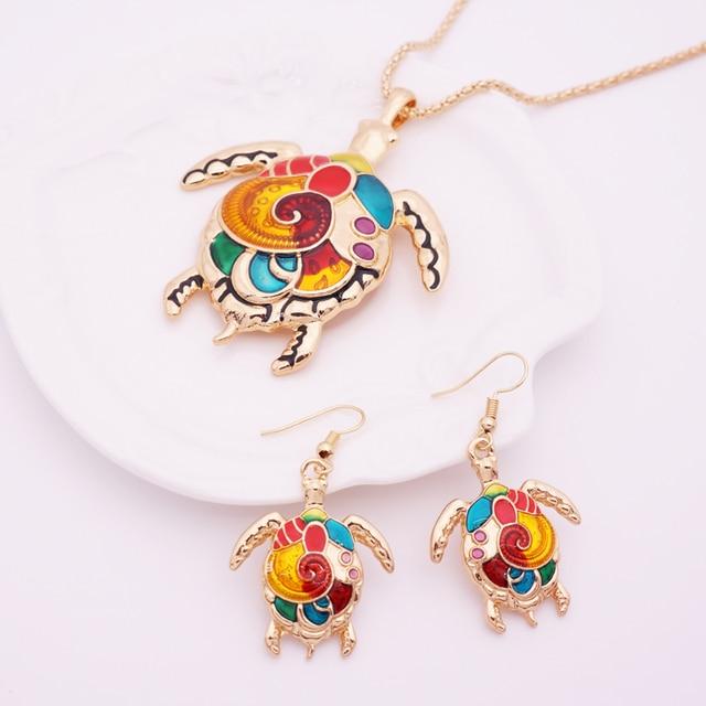 Women's Enamel Turtle Necklace and Earrings Set 4