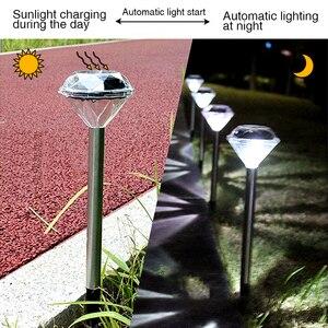 Image 5 - 10 Pack Solar Lawn Light For Garden Decoration Stainless Steel Outdoor Solar Powered Diamond Stake Lights LED Solar Lamp Lantern