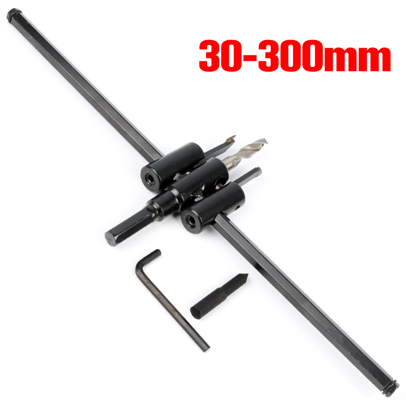 30-200mm Adjustable Wood Drywall Circle Hole Drill Cutter Bit Saw Circle Hole Saw Cutter Drill Bit stones bricks concrete cement stone 50mm wall hole saw drill bit 200mm round rod