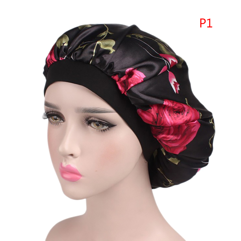 Women Hats Night Cap Wide Band Hair Loss Chemo Hats Comfortable Satin Ladies Turban Caps
