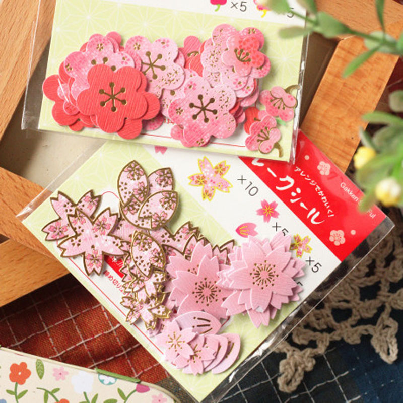 EZONE Kawaii Flower Stickers Sakura Plum Blossom Shape Stickers For Album Scrapbook Decoration Graffiti Material Escolar Gifts in Stationery Stickers from Office School Supplies