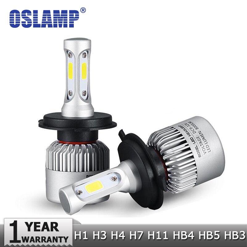 Prix pour Oslamp h4 h7 h11 h1 h13 h3 9004 9005 9006 9007 9012 cob LED Phare De Voiture Ampoule Salut-Lo Faisceau 72 W 8000LM 6500 K Auto Phare 12 v 24 v