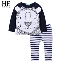 HE Hello Enjoy Newborn Boy Clothes 2018 Spring Baby Fashion Clothing Sets Cotton Animal Long Sleeeve Tops+Stripe Pant Infant