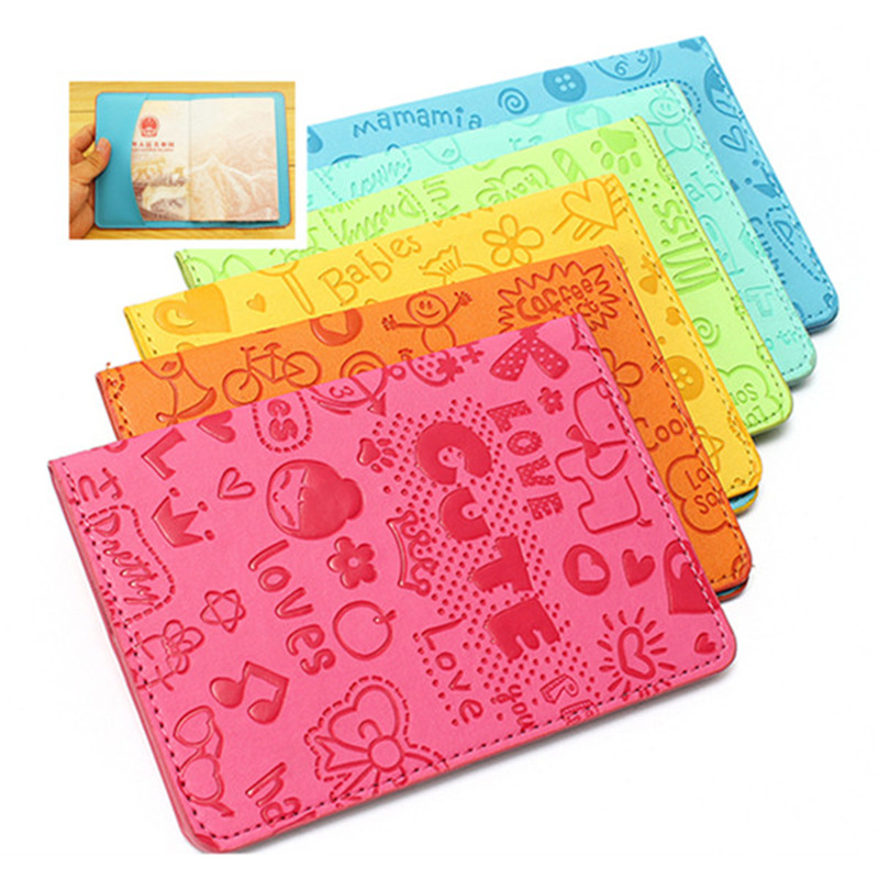 Cute Cartoon Passport Holder Cover Pu Leather Id Card Document Folder Travel Ticket Container