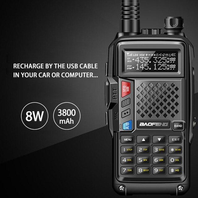 "2020 BAOFENG BF UVB3 בתוספת 8W גבוהה כוח UHF/VHF Dual Band 10 ק""מ ארוך טווח Thickenbattery ווקי טוקי מרובה טעינת מצב"