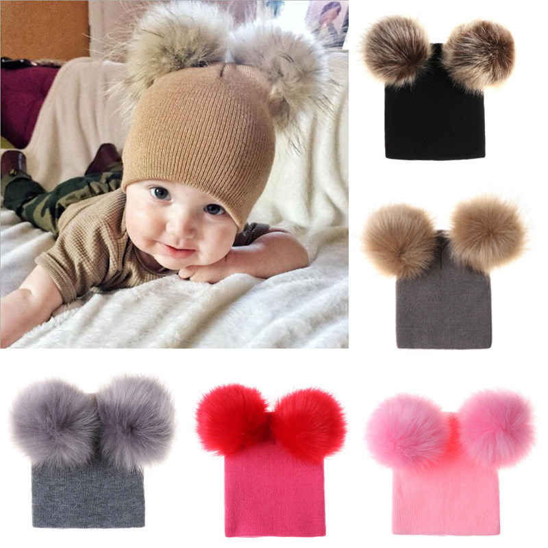 Winter Baby Girls Knit Hat With Two Fur Pompoms Boys Natural Fur Ball Slouhcy Beanie Caps Double Real Fur Pom Hat
