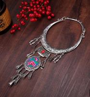 Yunnan national style retro gem big Necklace Tassel Necklace ancient silver ornament