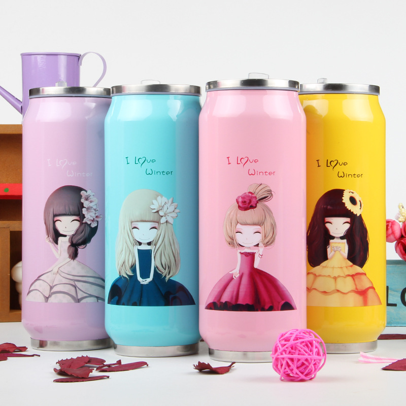 New Style Cans Design Candy Color Girls Stainless Steel