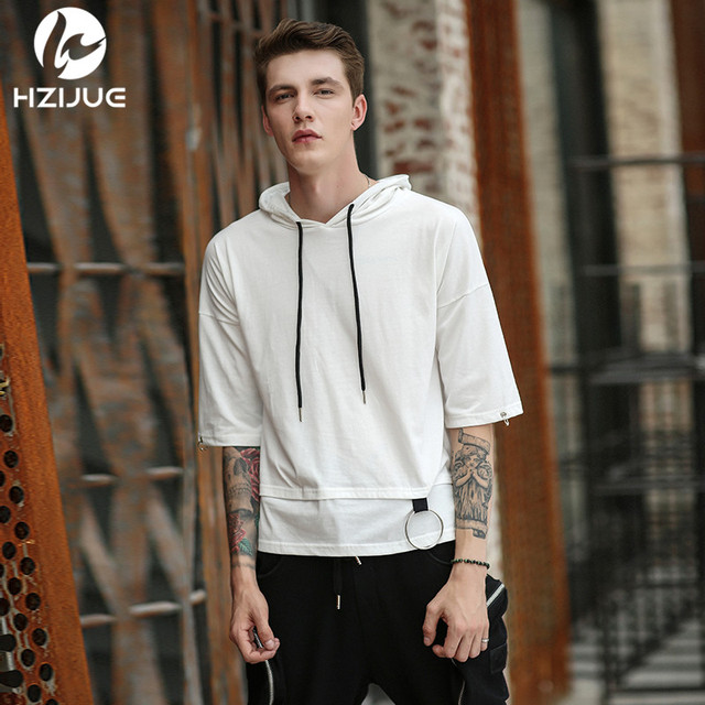 Hzijue 2018 Summer Fashion Men Drawstring Hooded T Shirts Hip Hop Half Sleeve T Shirt