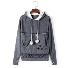 Women Creative Hoodie Kangaroo Pocket Pet Dog Cat Holder Carrier Pouch Long Sleeve Drawstring Casual Pullover #T35(China)