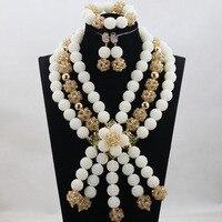 Beautiful Nigerian Wedding Jewelry Set African Statement Necklace Set Women Jewelry Gift African Beads Jewelry Set White ANJ404