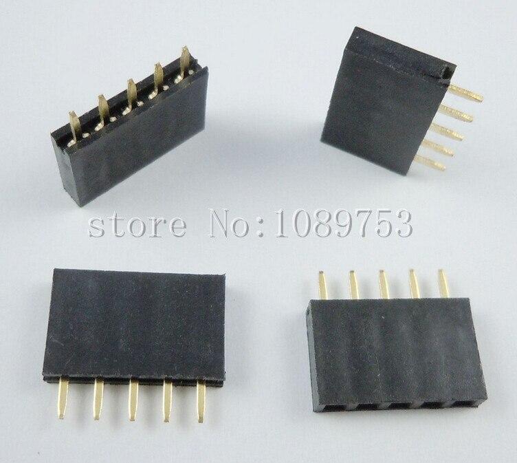 500PCS 5Pin 2.54mm Single Row Straight Female Pin Header 5P Strip PBC ys 532 single row 20pin female headers black 5 pcs