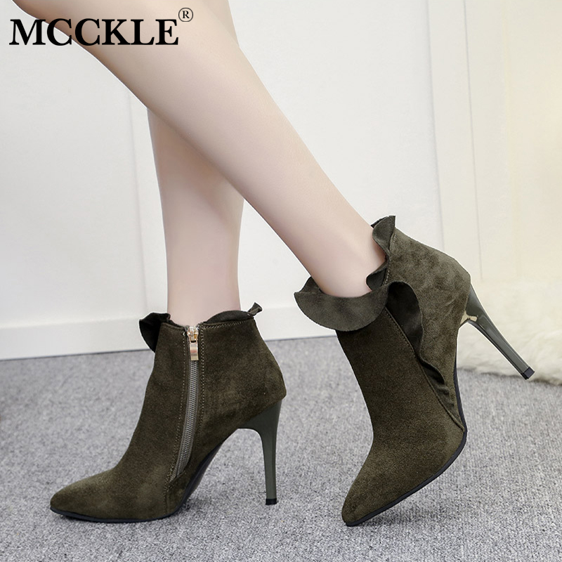 MCCKLE Female Zip Pointed Toe Slip On High Heels Women's Sexy Black Offer Flcok Autumn Rubber Ankle Boots Ladies Solid Pumps mcckle 2017 ladies fashion sexy autumn winter ankle boots female slip on zip black solid platform high heels plus size34 43