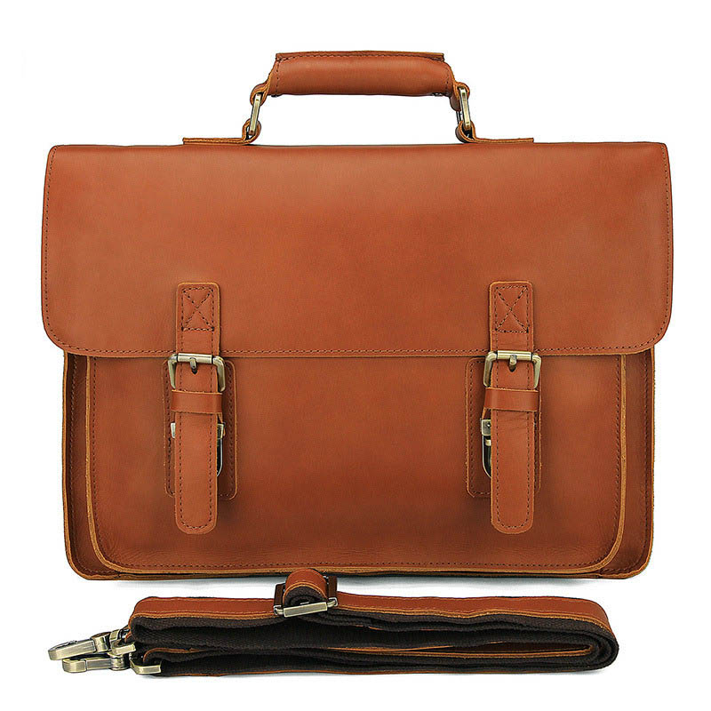 купить 2018 New Genuine Leather Computer Shoulder Men Bags Laptop Briefcase Bag Leather Handbags Zipper Casual Bags Business Briefcase по цене 5713.15 рублей