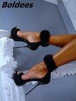 New Designer Black Suede Faux Fur Ankle Wrap Stiletto Heels Dress Shoes Women Sandals Zip Platform Summer Shoes