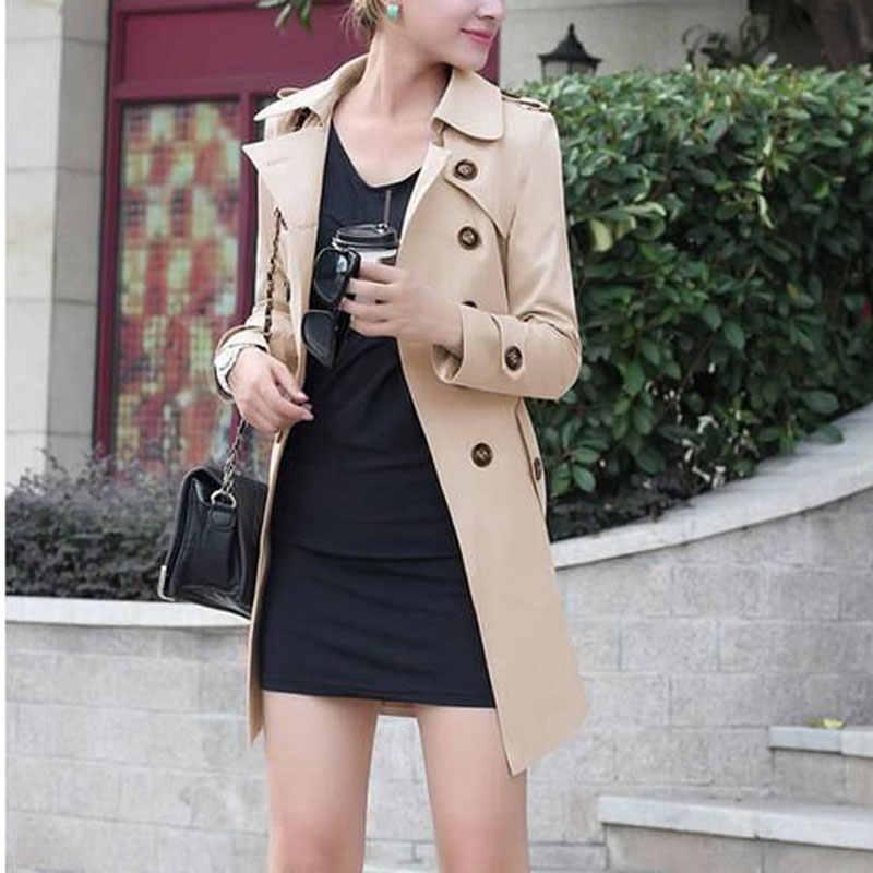TOPUK BÜYÜK Trençkot Kadın 2019 Sonbahar Artı Boyutu 4XL Palto İnce Bel Dış Giyim Kış Kruvaze Rüzgarlık Palto WWF915