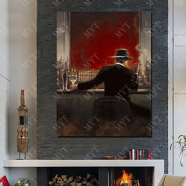 Handsome man suit dressing at bar canvas pictures handmade home ...