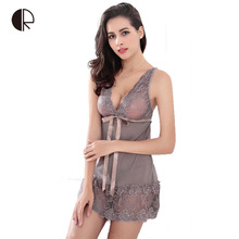 Hot 2016 New Women Sexy Nightwear 5 Colors Plus Size S~XXL Lace Nightgown Sleepwear Dress G-String Sexy Lingerie Robe Sexy AP280