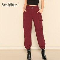 SweatyRocks Pocket Side Buckle Belted Pants Streetwear Burgundy Tapered Sweatpants 2019 Spring Women Fashion Casual Solid Pants