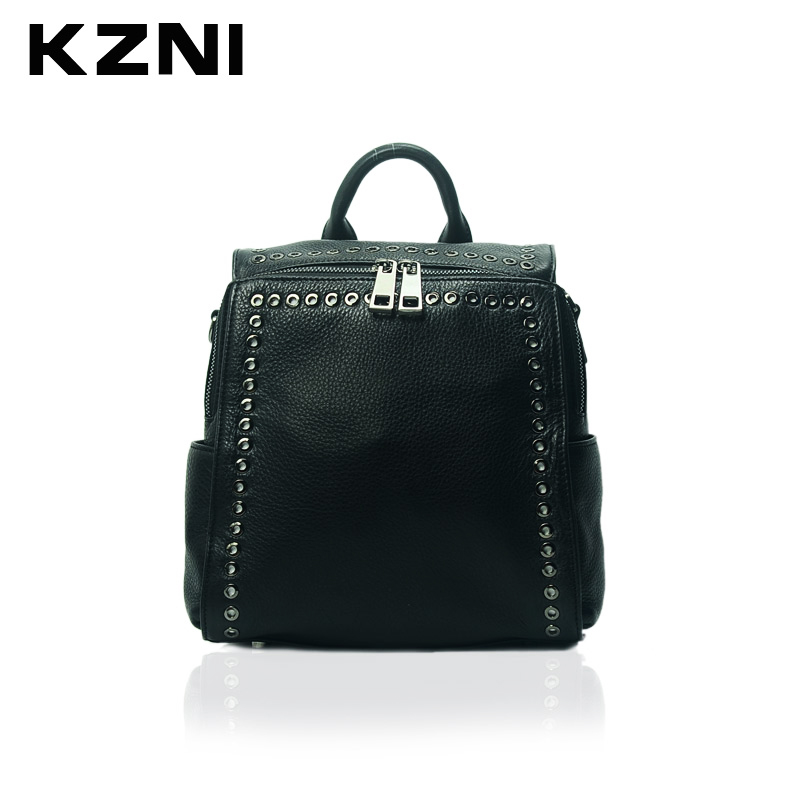 KZNI Women Genuine Leather Small Fashion Designer Backpack School Bags for Girls Female Rivet  Backpack Sac a Dos 1391 nawo fashion genuine leather backpack rivet women bags preppy style backpack girls school bags zipper large women s backpack sac