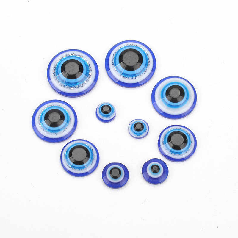 50pcs/lot evil eye beads blue eye beads Decal Clothes Hair Accessorie Phone Case Glue on Cabochon decoration Flat Back Scrapbook