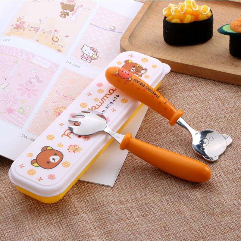 Vaisselle Couverts Cuillère Fourchette baguettes Set for Kids Boîte déjeuner accessoires