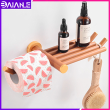 Toilet Paper Holder with Shelf Wood Aluminum Creative Roll Paper Holder Phone Tissue Hanger Rack Wall Mounted Paper Towel Holder thai solid wood kitchen towel holder roll holder creative retro toilet paper towel holder roll holder lo5311141