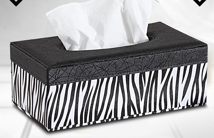 Zebra Wood Leather Rectangular Tissue Storage boxes cover Napkin