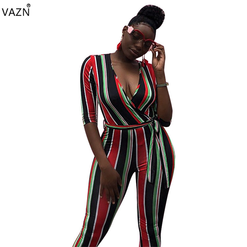 VAZN 2018 new fashion striped casual skinny jumpsuits women half sleeve deep v-neck jumpsuits ladies hollow out jumpsuits F8110