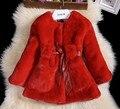 Роскошный искусственный мех пальто мода зимняя куртка для девочек младенца одежды куртка элегантный одежда девочка верхняя одежда пальто