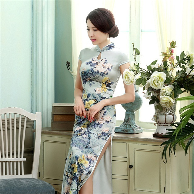 High Quality  Chinese Lady Silk Satin Long Cheongsam Qipao Bridesmaid Evening Dress/Qipao Size S M L XL XXL  C0017