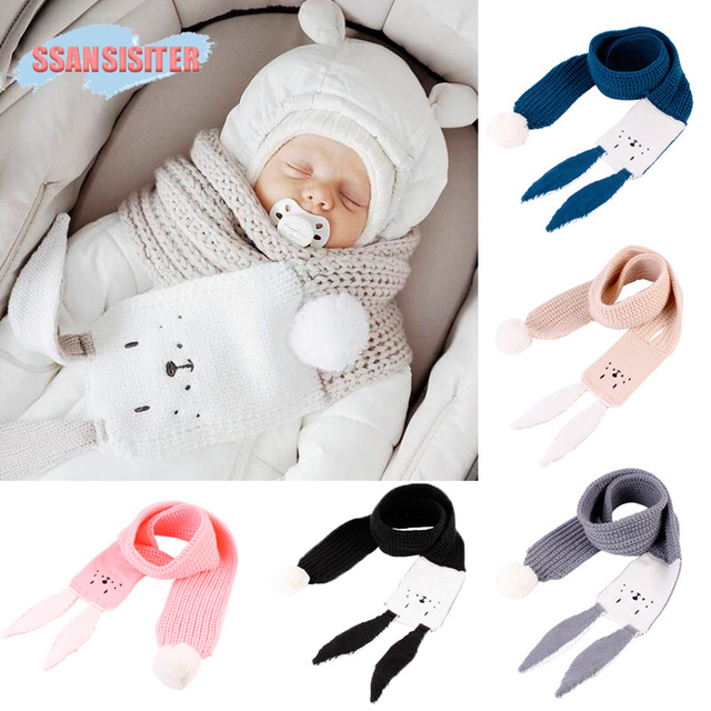 Children Scarf Knitted Scarves For Girls Cute Cartoon Rabbit Winter Scarf Baby Photography Props Kids Scarf For Boys Unisex