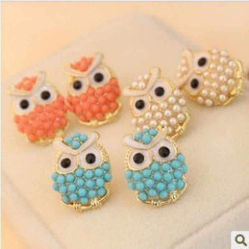 Fashion Cute Crystal Owl Girls Stud Earrings For Women Vintage Gold-Color Animal Statement Earrings pink blue white 3 colors