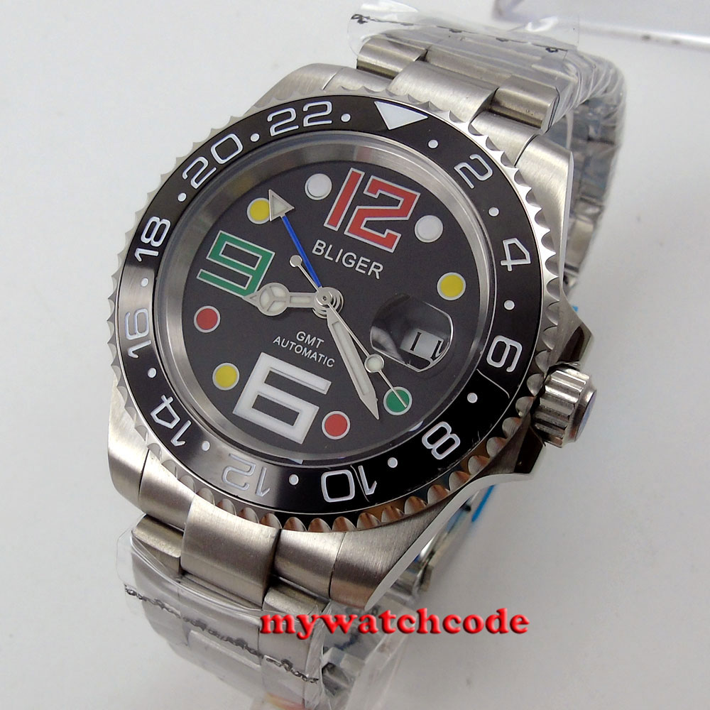 40mm Bliger blac dial GMT ceramic bezel sapphire glass automatic mens watch 62 40mm bliger white dial gmt ceramic bezel sapphire glass automatic mens watch 199