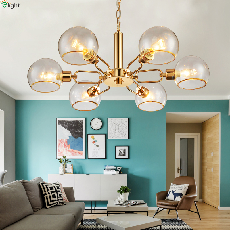 Modern Semi Glass Led Pendant Chandelier Lights Lustre Gold Dining Room Led Chandeliers Lighting Bedroom Hanging Light Fixtures iwhd led pendant light modern creative glass bedroom hanging lamp dining room suspension luminaire home lighting fixtures lustre