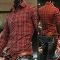 Mens de la marca Red Plaid vestido de blusa shrits en manta jaula hombres Camisa más tamaño camisa de algodón camisa roja vestidos importados ropa