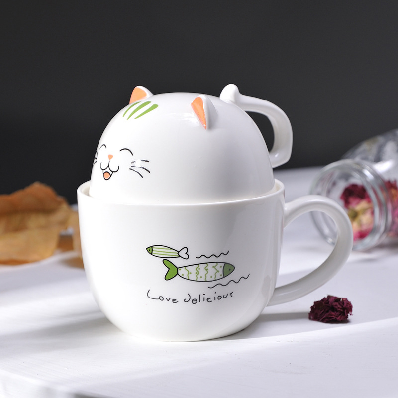NNew Creative Ceramic Cup Cute Cartoon Cat Coffee Milk Tea Cup Couple Personal Girl Coffee Milk Tea Drinking Good Gift Cup