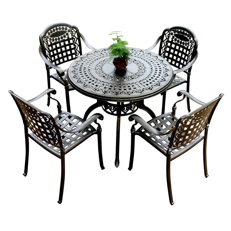 6677227 руб уличные столы и стулья сочетание литая алюминиевая уличная мебель балконные столы и стулья вилла сад железные столы для отдыха In