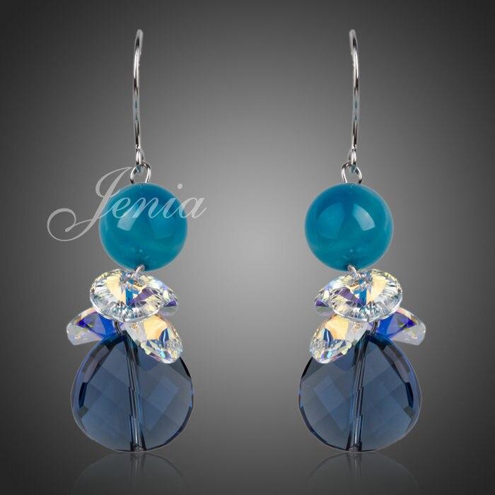 Jenia White Gold Color Costume Rhinestone Jewelrys Cubic Zirconia Drop Earrings For Women XE017